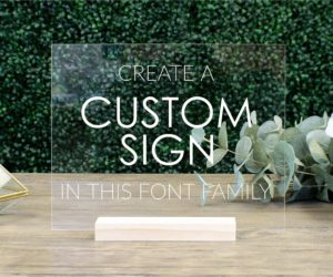 custom acrylic table sign eb