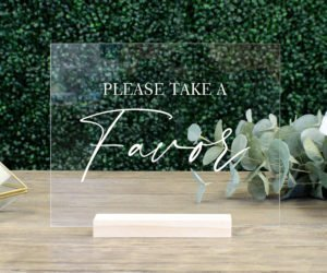 favors table wedding sign efde