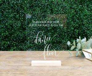 find your seat escort card table sign e