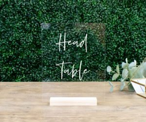 head table acrylic wedding table sign efae