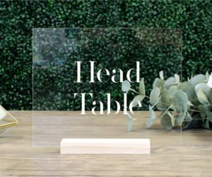 head table acrylic wedding table sign e