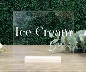 ice cream bar table sign e