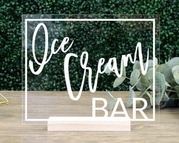 Ice Cream Bar Table Sign