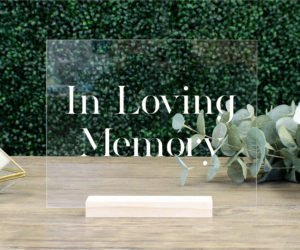 in loving memory memorial table sign e