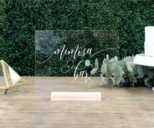mimosa bar acrylic table sign ecc