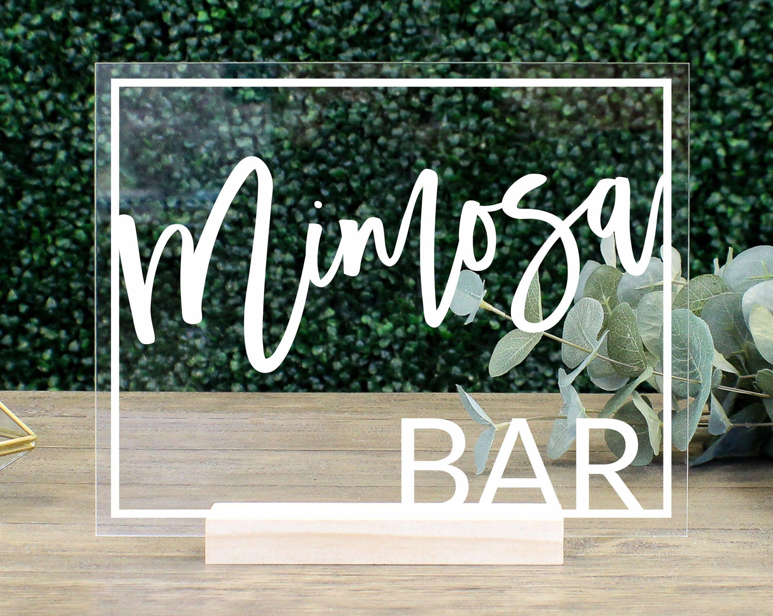 mimosa bar table sign ef