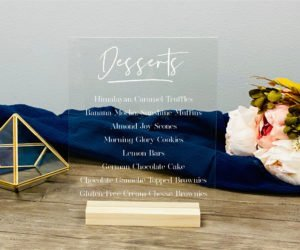 personalized dessert menu acrylic sign eff
