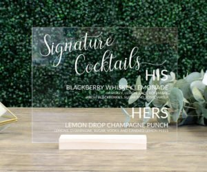 personalized wedding cocktail sign efdd
