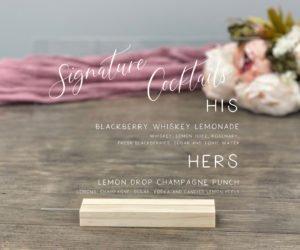 personalized wedding drink menu sign eff