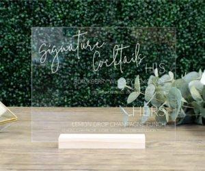 personalized wedding drink menu sign eef