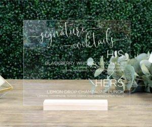 personalized wedding drink menu sign efe