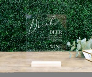 personalized wedding drink menu sign ee