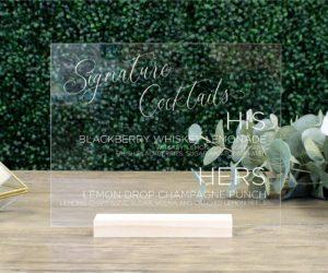 personalized wedding drink menu sign ee