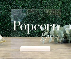 popcorn bar table sign e