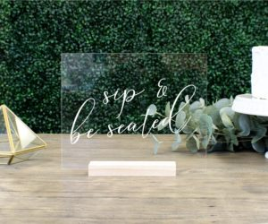 sip be seated escort card table sign e