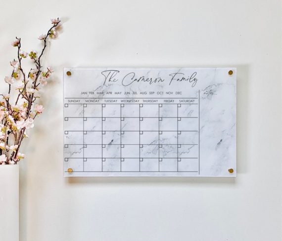 Monthly Acrylic Wall Calendar With Notes