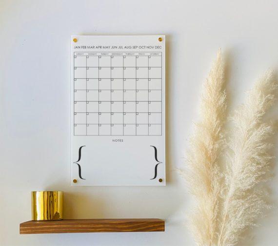 Monthly Acrylic Wall Calendar, 7 Week Design