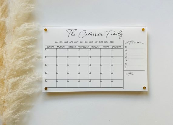 Monthly Acrylic Wall Calendar With Menu + Notes