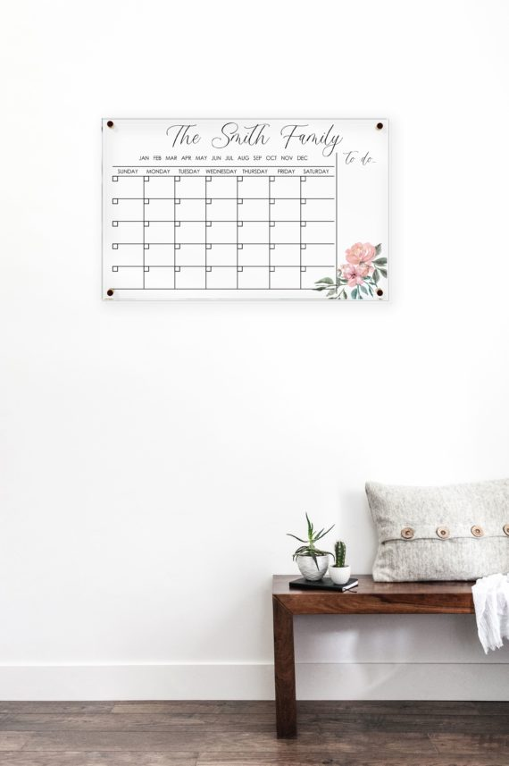 Floral Monthly Calendar with To Do