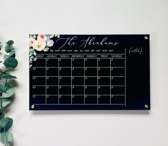 Floral Monthly Acrylic Wall Calendar With Notes