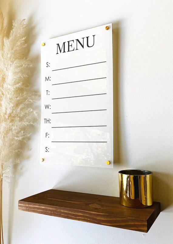 Acrylic Menu Board For Wall