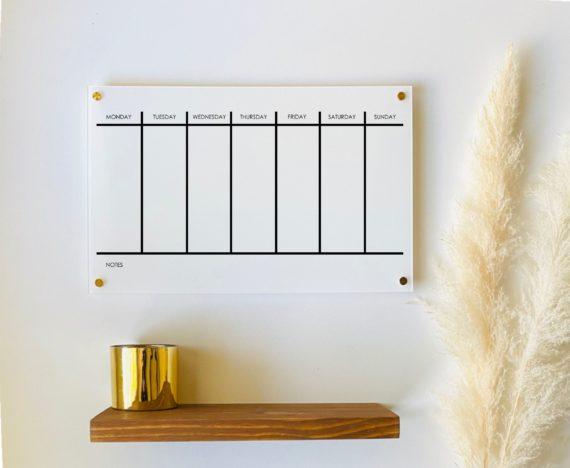 Acrylic 2 Week Calendar Board For Wall