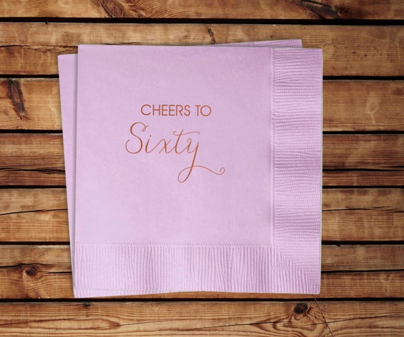 60th Birthday Cocktail Napkins, set of 100