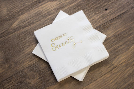 70th Birthday Cocktail Napkins, set of 100