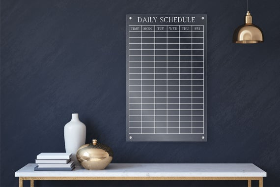 Acrylic Daily Schedule Board For Wall