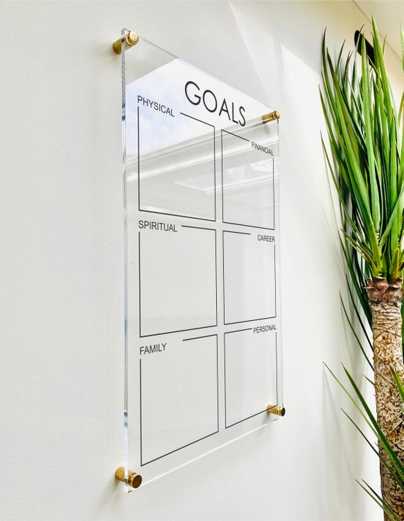 Acrylic Goals & To Do List Board For Wall