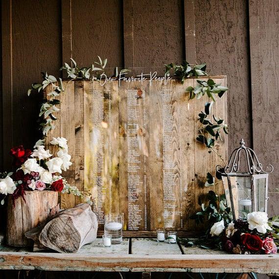 Acrylic Wedding Sign, Custom Seating Chart Wedding Sign