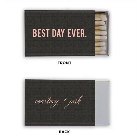 Best Day Ever Personalized Matches, set of 50