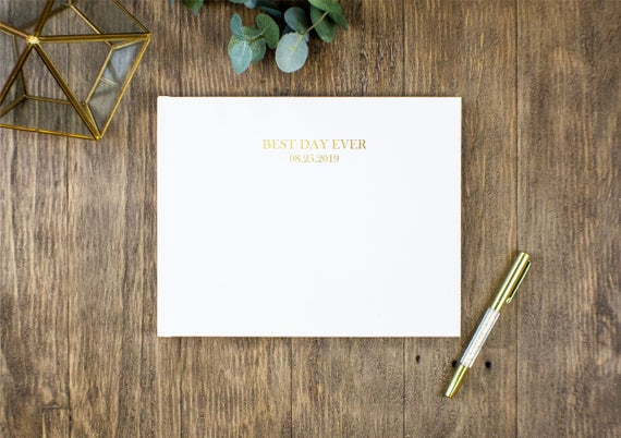 Custom Best Day Ever Wedding Guest Book