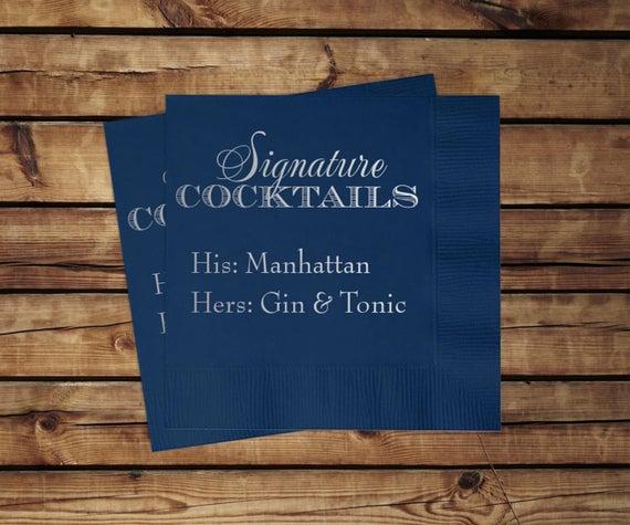 Custom Signature Cocktail Napkins, set of 100