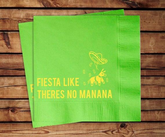 Fiesta Like Theres No Mañana Cocktail Napkins, set of 100