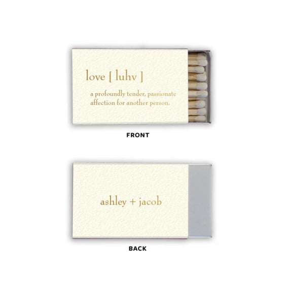 Love Definition Personalized Matches, set of 50