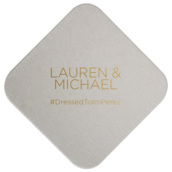 Personalized Hashtag Wedding Coasters, set of 100