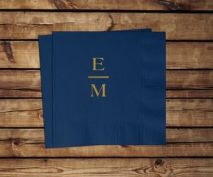 Personalized Initial Cocktail Napkins, set of 100