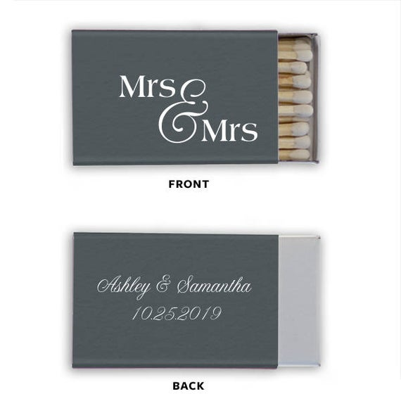Personalized Matches, Mrs & Mrs Set of 50