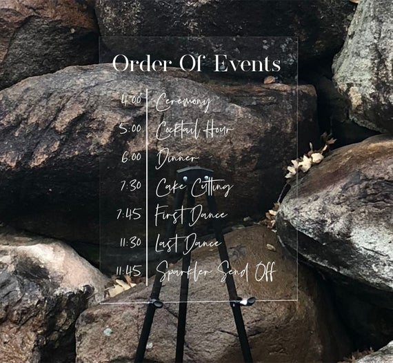 Personalized Order of Events Sign