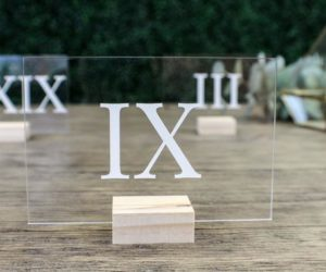 Roman Numeral Wedding Table Numbers with Holders