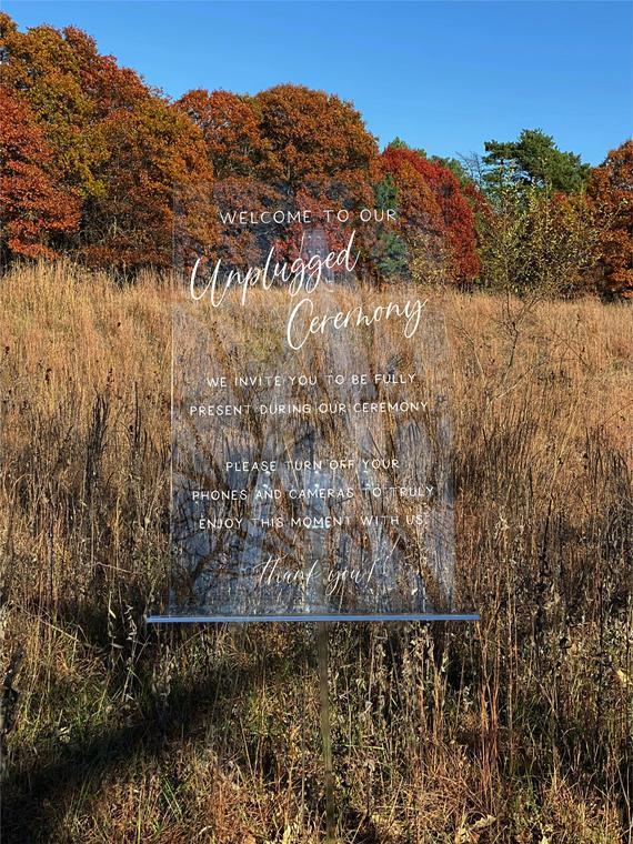 Unplugged Ceremony Acrylic Wedding Sign