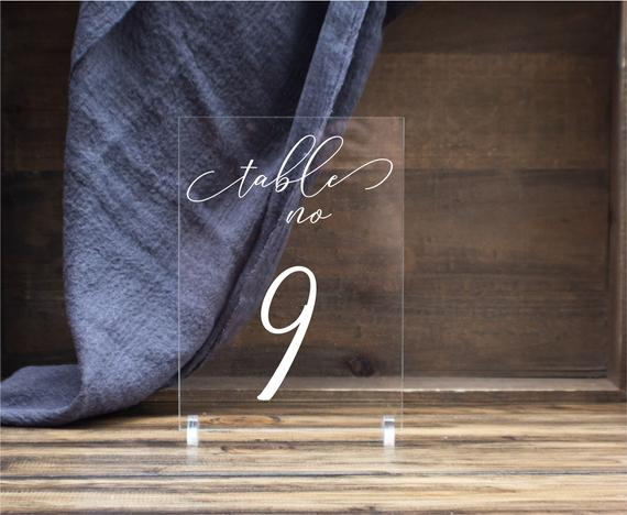 Wedding Table Numbers with Holders