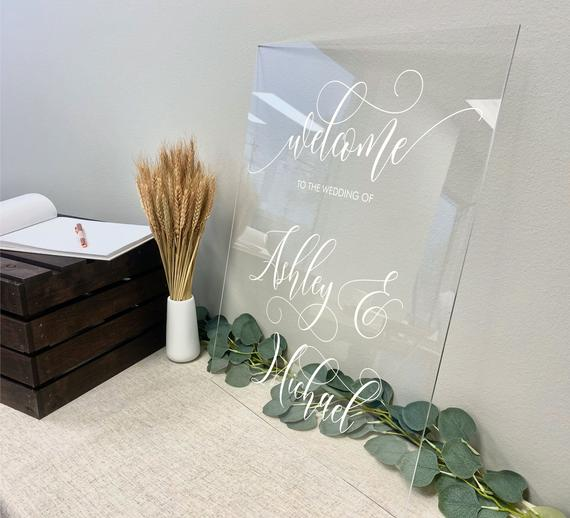 Wedding Welcome Sign on Clear Acrylic