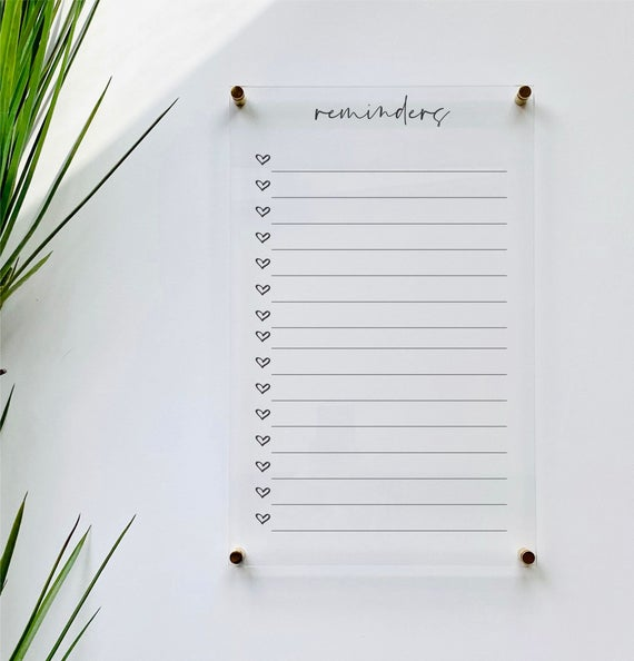 Acrylic Reminders List For Wall