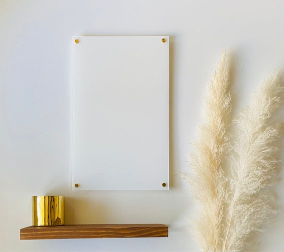 Blank White Acrylic Dry Erase Writing Board with Standoffs