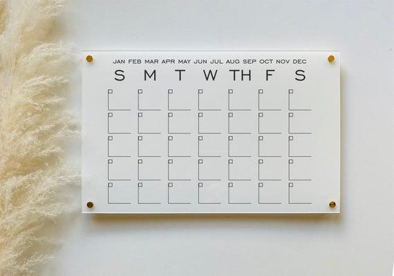 Acrylic White Calendar For Wall