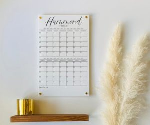 Personalized White Acrylic Calendar For Wall 2 Month Design