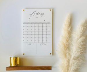 Personalized White Acrylic Calendar For Wall, 7 Week Design