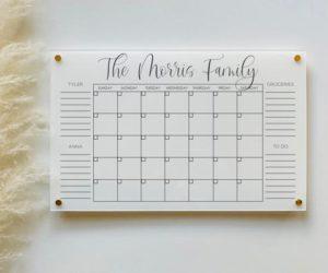 PersonalizedWhite Acrylic Calendar For Wall